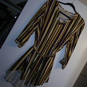 Multi color stripe dress with belt